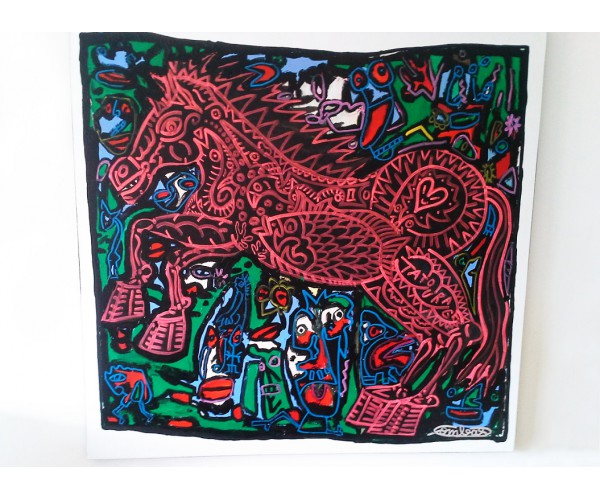 Le Cheval Rouge ou plutôt noir en pleine campagne de têtes Robert Combas - Vente d'Art